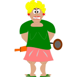 Graphics of angry housewife with a rolling pin
