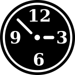 Vector drawing of black and white manual clock symbol