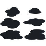 Dark grey clouds set vector clip art