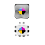 Vector drawing of icon set for CMYK color palette