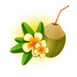 Coconut cocktail vector graphics
