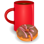 Coffee and doughnut vector drawing