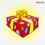 Christmas present with gold ribbon vector illustration