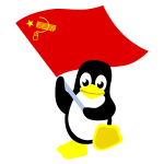 Penguin with red flag