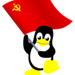 Penguin with waving red flag
