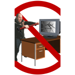 Computer rage forbidden sign vector illustration