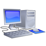 Vector clip art of color PC configuration icon