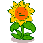 Happy sunflower vector drawing