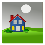 Vector image of house with chimney on green grass