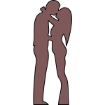 Outline illustration of couple kissing