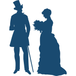 Old-fashioned couple silhouette vector image