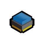 Vector image of blue 3D CPU icon