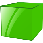Reflective green cube vector graphics