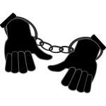Hands enclosed in handcuffs