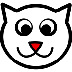 Vector clip art of a cat with red nose