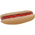 Hot dog with ketchup vector illustration