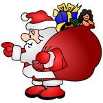 Santa Claus with a bag full of presents vector illustration