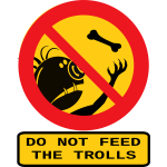 Vector clip art of do not feed the trolls sign with caption