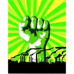 Green power against pollution vector drawing
