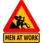 Vector clip art of men at work warning sign