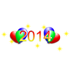 Happy New Year 2014 with balloons vector drawing