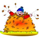 Kid in leaves vector illustration