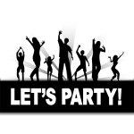 Lets Party sign vector drawing