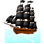 Vector graphics of huge pirate sailboat at unruly sea