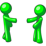 Vector illustration of green figures shaking hands