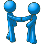 Vector drawing of blue figures shaking hands