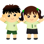 Boy and girl in school uniform vector drawing