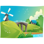 Windmill in landscape vector graphics