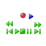 Clip art of stop, play, pause, skip, rewind, fast forward and eject buttons for a media player