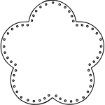 Vector drawing of 5 scallop flower outline with holes