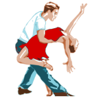 Dancing couple in a dance move vector clip art