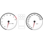 Vector drawing of car dashboard tachometer and speedometer