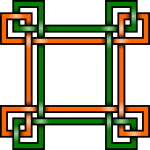 Vector illustration of green and orange square border