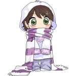 Anime child in winter clothes vector graphics