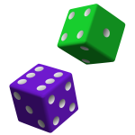 Green and purple dice