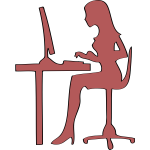 Silhouette of woman sitting at computer desk vector clip art