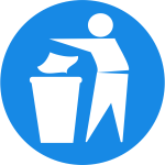 Dispose of rubbish in bin sign vector illustration