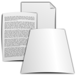 Vector drawing of paper documents with print