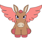 Vector drawing of pegasus donkey with pruple eyes