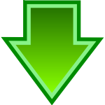 Vector image of simple green download icon
