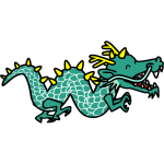 Green dragon cartoon style