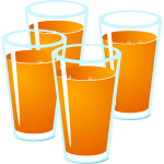 Vector illustration of four glasses of freshly squeezed juice