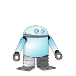 Cartoon blue robot vector image