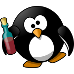 Drunk penguin vector image