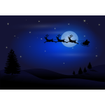 Santa with three reindeer vector illustration