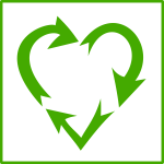 Eco love recycling vector icon